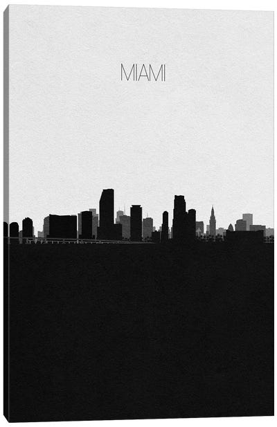 Miami, Florida City Skyline Canvas Art Print