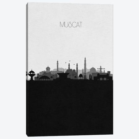 Muscat, Oman City Skyline Canvas Print #ADA374} by Ayse Deniz Akerman Canvas Artwork