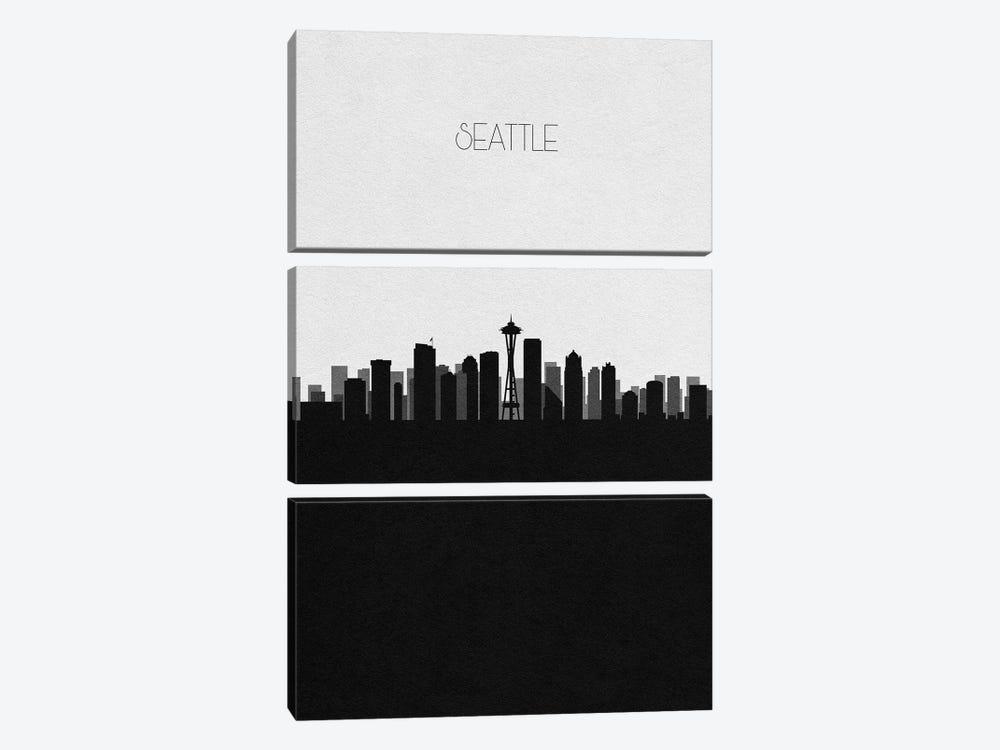 Seattle, Washington City Skyline by Ayse Deniz Akerman 3-piece Canvas Art Print