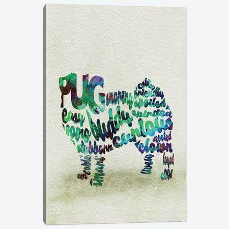 Pug Canvas Print #ADA44} by Ayse Deniz Akerman Canvas Wall Art