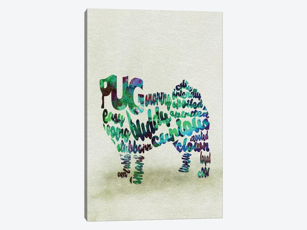 Pug by Ayse Deniz Akerman 1-piece Canvas Art Print
