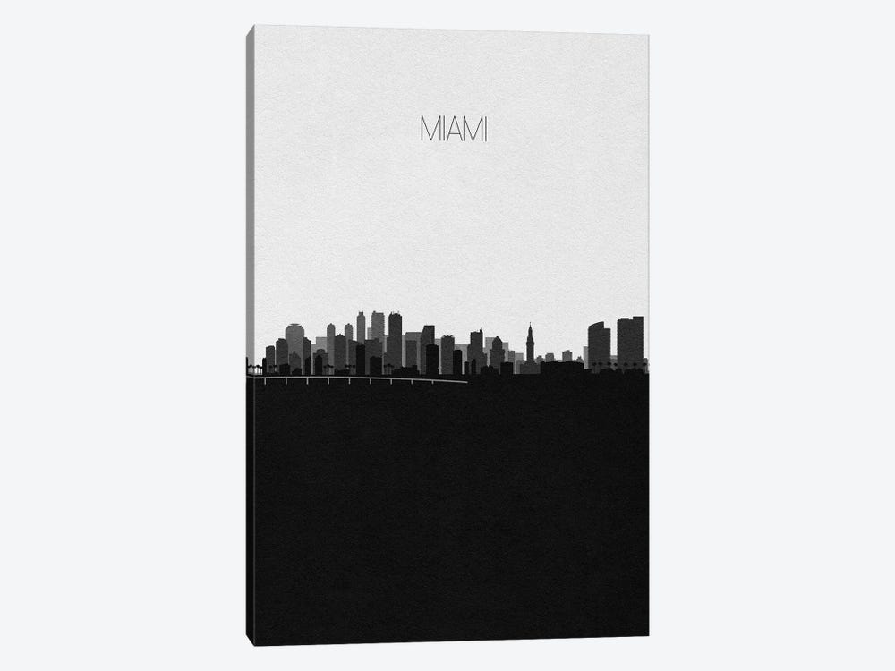 Miami Skyline by Ayse Deniz Akerman 1-piece Canvas Artwork