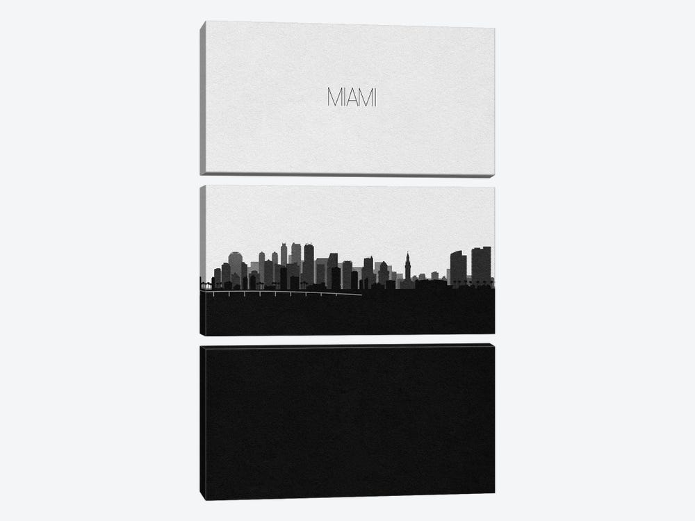 Miami Skyline by Ayse Deniz Akerman 3-piece Canvas Artwork