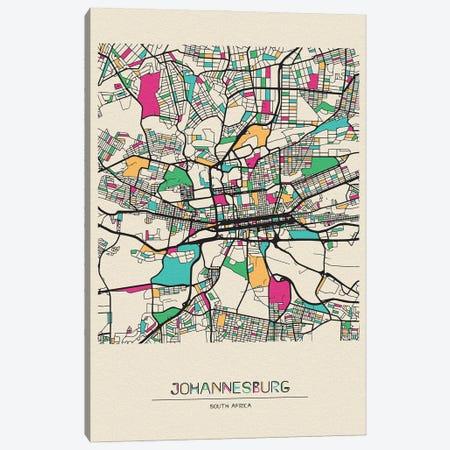 Johannesburg, South Africa Map Canvas Print #ADA517} by Ayse Deniz Akerman Canvas Artwork