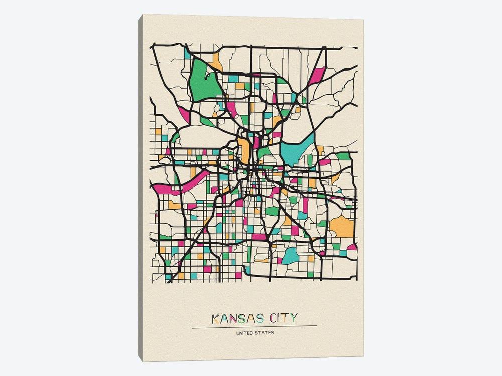 Kansas City, Missouri Map by Ayse Deniz Akerman 1-piece Canvas Wall Art