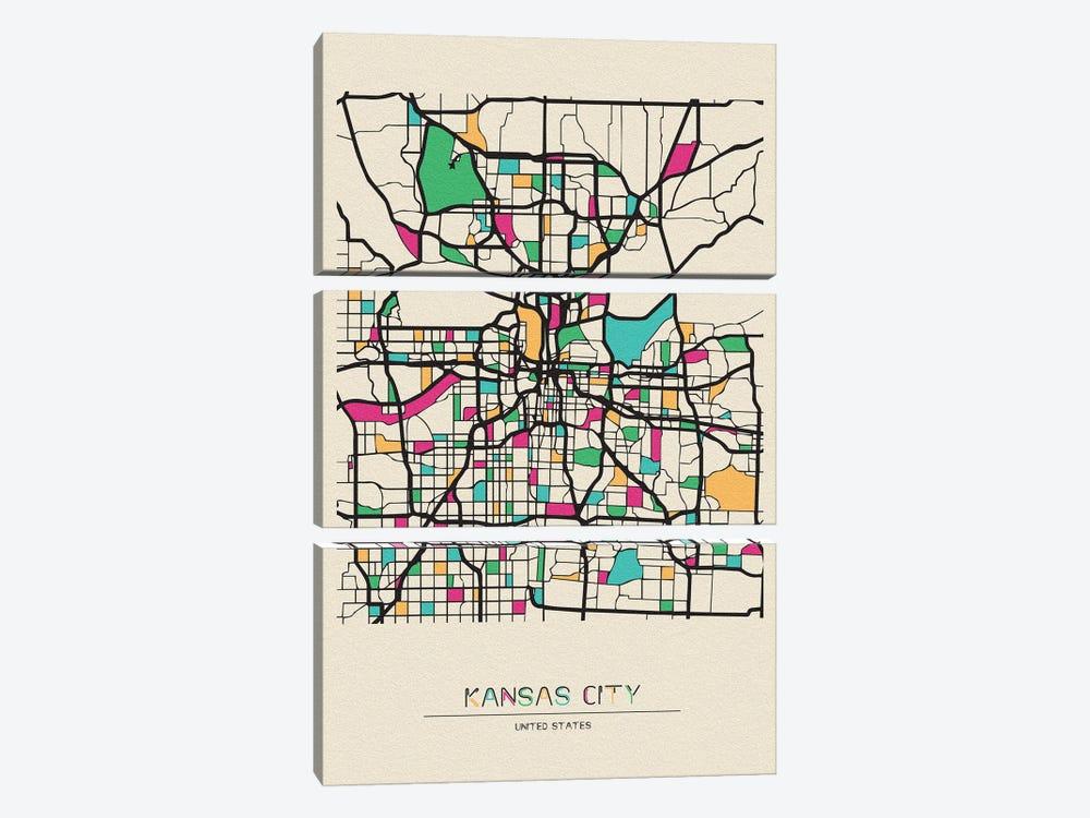 Kansas City, Missouri Map by Ayse Deniz Akerman 3-piece Canvas Artwork