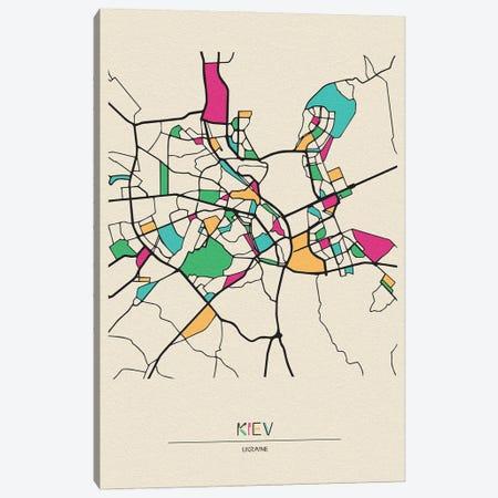 Kiev, Ukraine Map Canvas Print #ADA519} by Ayse Deniz Akerman Canvas Print
