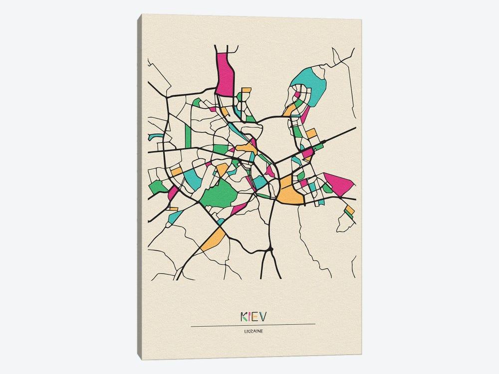 Kiev, Ukraine Map by Ayse Deniz Akerman 1-piece Canvas Print