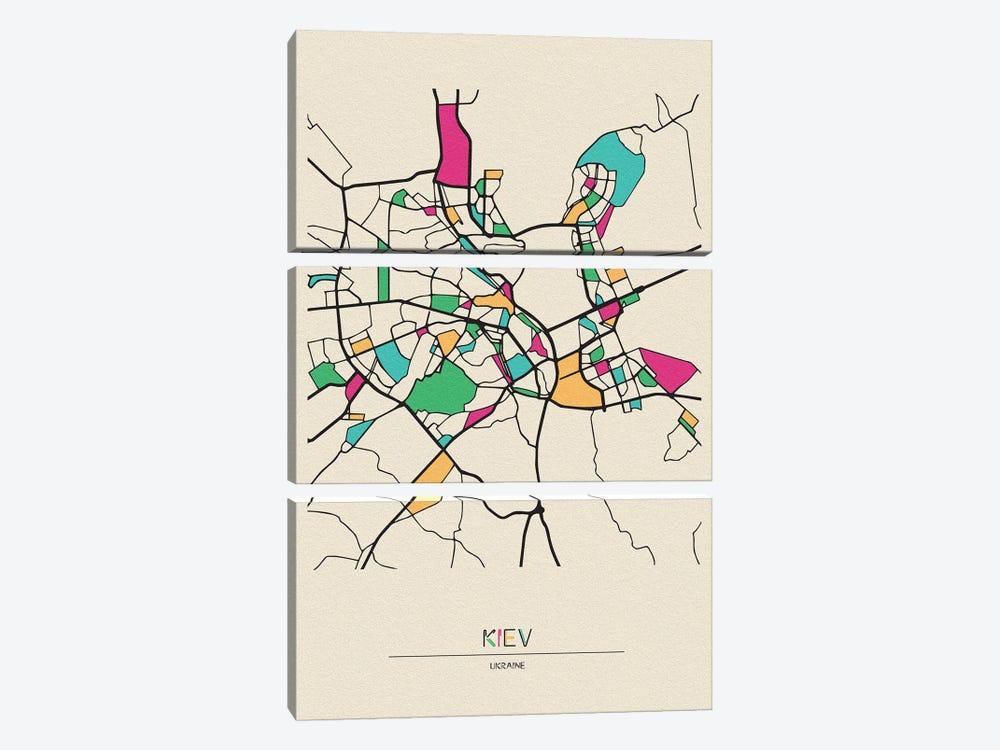 Kiev, Ukraine Map by Ayse Deniz Akerman 3-piece Canvas Art Print