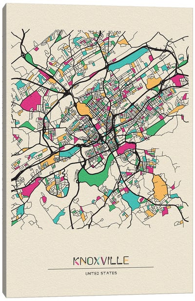 Knoxville, Tennessee Map Canvas Art Print
