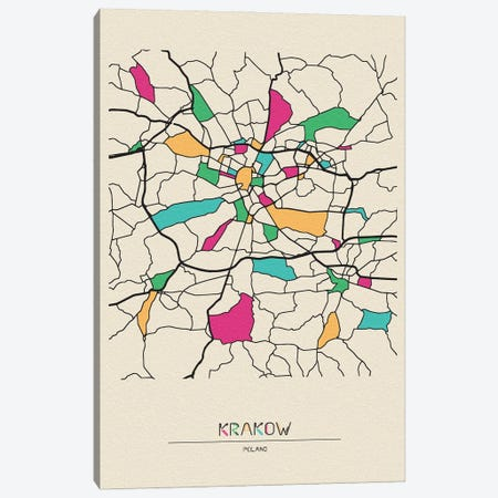 Krakow, Poland Map Canvas Print #ADA522} by Ayse Deniz Akerman Canvas Art