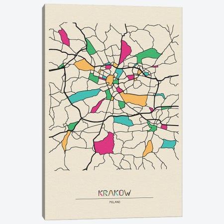 Krakow, Poland Map Canvas Print #ADA522} by Ayse Deniz Akerman Canvas Art