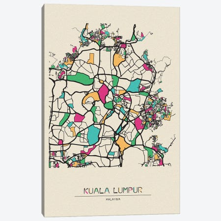 Kuala Lumpur, Malaysia Map Canvas Print #ADA523} by Ayse Deniz Akerman Canvas Art