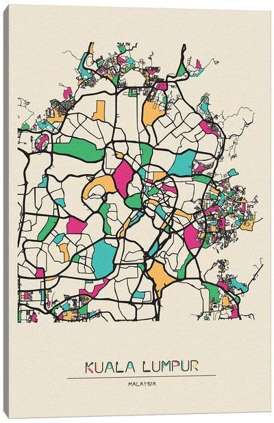 Kuala Lumpur, Malaysia Map Canvas Art Print