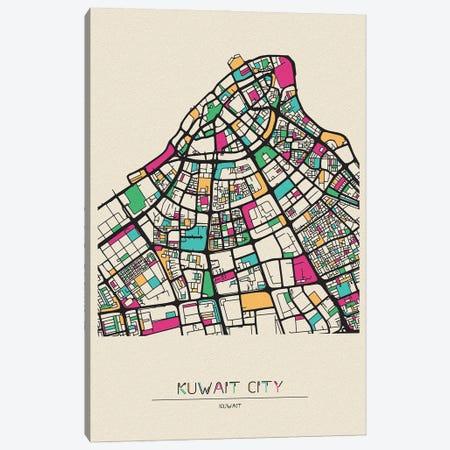 Kuwait City Map Canvas Print #ADA524} by Ayse Deniz Akerman Art Print