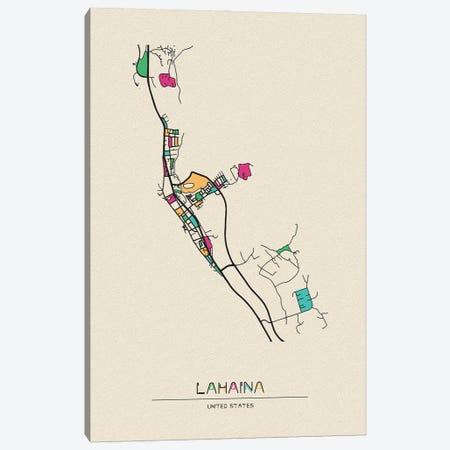 Lahaina, Hawaii Map Canvas Print #ADA525} by Ayse Deniz Akerman Canvas Print