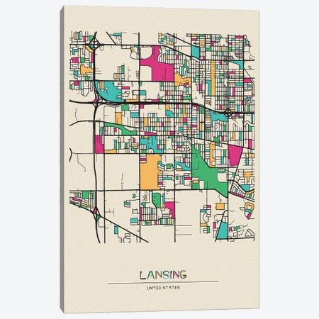 Lansing, Michigan Map Canvas Print #ADA526} by Ayse Deniz Akerman Art Print