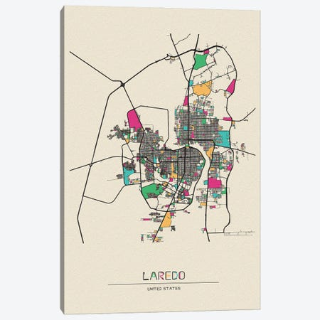 Laredo, Texas Map Canvas Print #ADA527} by Ayse Deniz Akerman Art Print