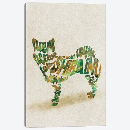 Shiba Inu Canvas Print #ADA52} by Ayse Deniz Akerman Canvas Artwork