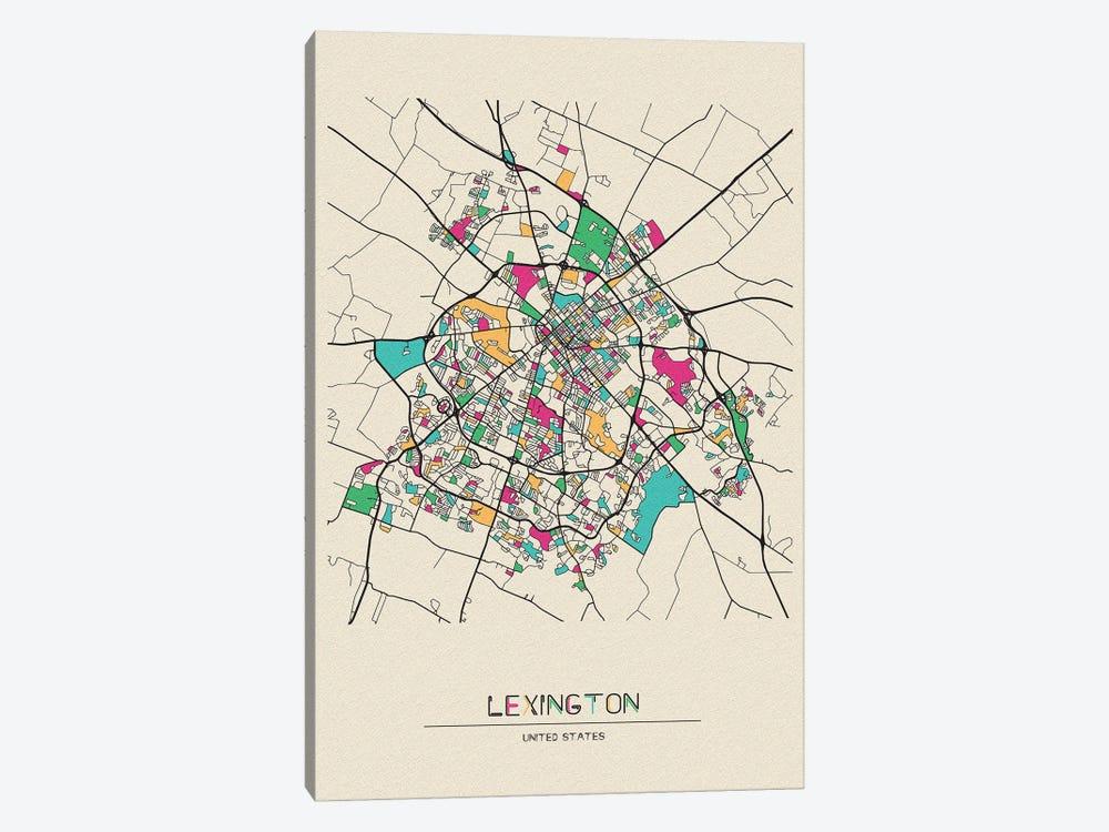 Lexington, Kentucky Map by Ayse Deniz Akerman 1-piece Canvas Wall Art