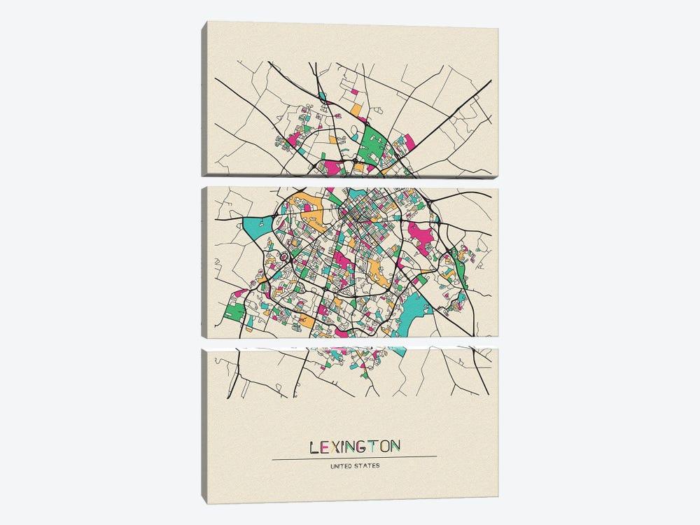 Lexington, Kentucky Map by Ayse Deniz Akerman 3-piece Canvas Wall Art