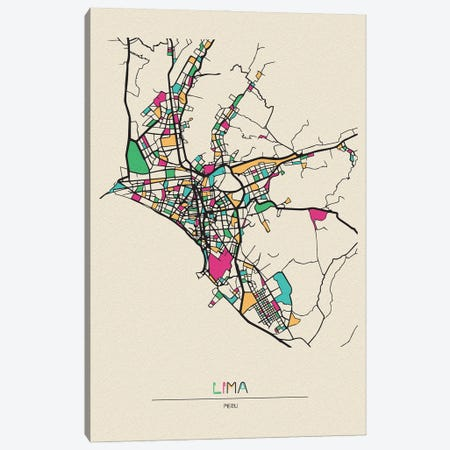 Lima, Peru Map Canvas Print #ADA531} by Ayse Deniz Akerman Canvas Print