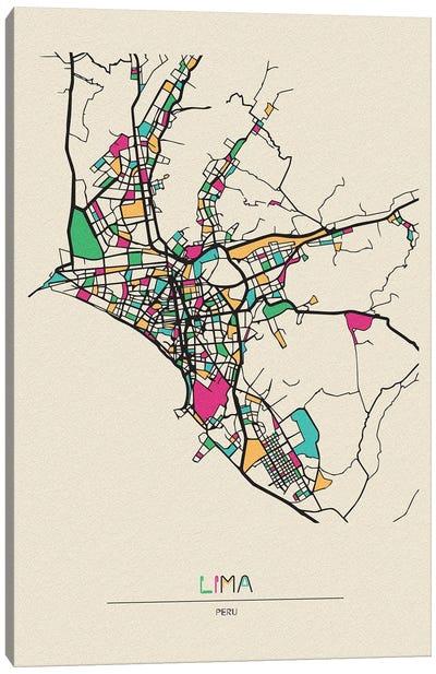 Lima, Peru Map Canvas Art Print