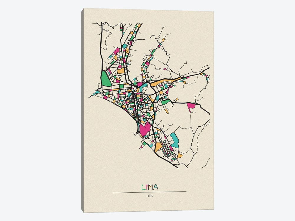 Lima, Peru Map by Ayse Deniz Akerman 1-piece Canvas Art Print