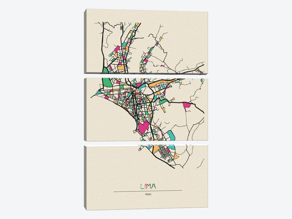 Lima, Peru Map 3-piece Canvas Print