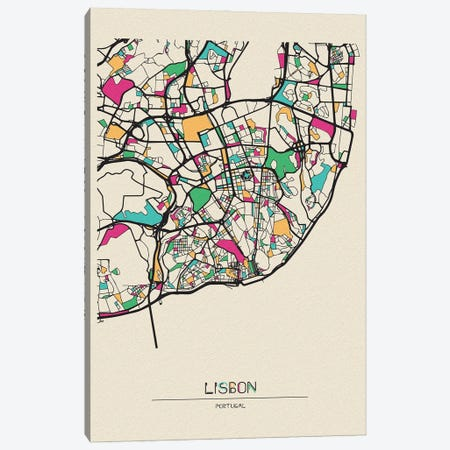 Lisbon, Portugal Map Canvas Print #ADA533} by Ayse Deniz Akerman Canvas Art Print