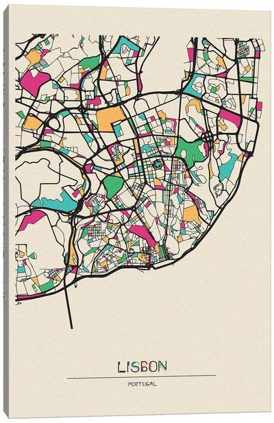 Lisbon, Portugal Map Canvas Art Print