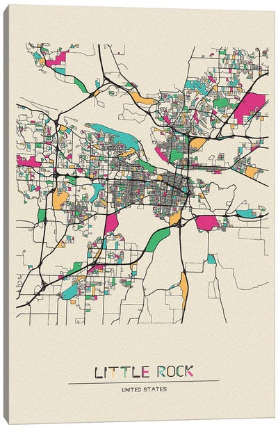 Little Rock, Arkansas Map Canvas Art Print