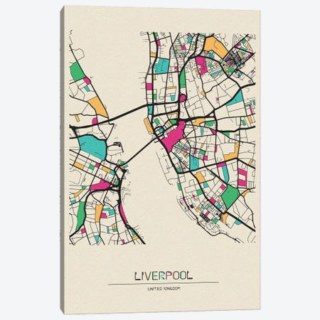 Liverpool, England Map Canvas Print #ADA535} by Ayse Deniz Akerman Canvas Wall Art