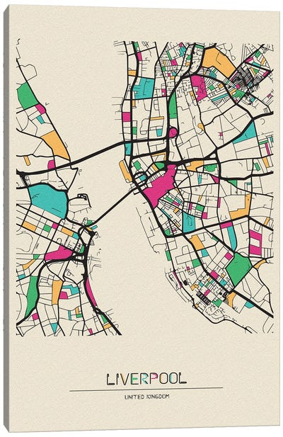 Liverpool, England Map Canvas Art Print