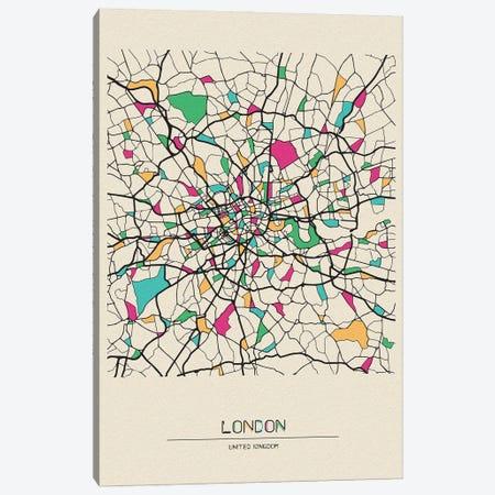London, United Kingdom Map Canvas Print #ADA536} by Ayse Deniz Akerman Canvas Wall Art