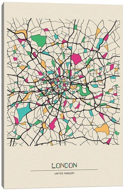 London, United Kingdom Map Canvas Art Print