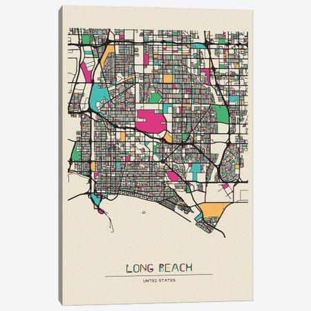 Long Beach, California Map Canvas Print #ADA537} by Ayse Deniz Akerman Canvas Art