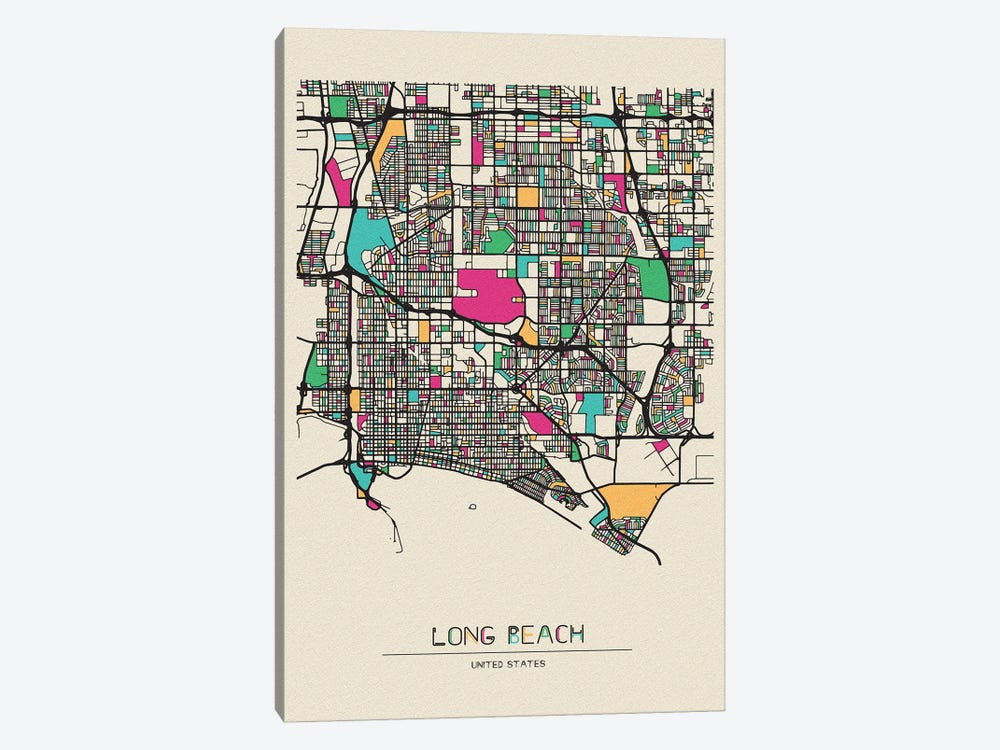 Long Beach, California Map by Ayse Deniz Akerman 1-piece Canvas Print