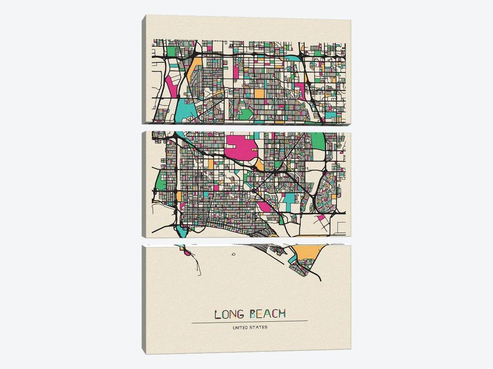 Long Beach, California Map by Ayse Deniz Akerman 3-piece Canvas Art Print