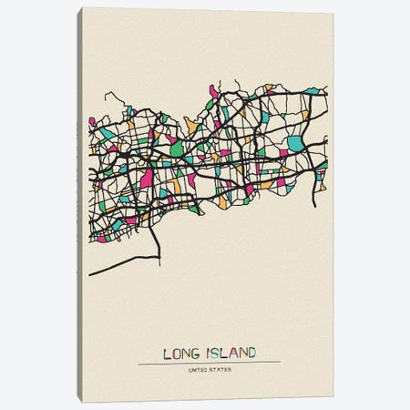 Long Island, New York Map Canvas Print #ADA538} by Ayse Deniz Akerman Art Print