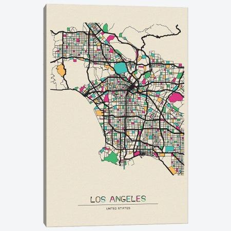 Los Angeles, California Map Canvas Print #ADA539} by Ayse Deniz Akerman Art Print