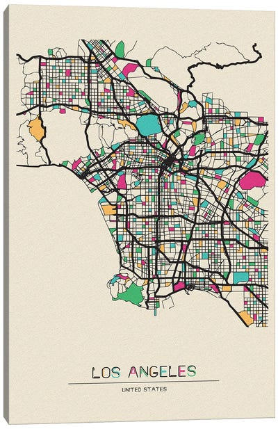 Los Angeles, California Map Canvas Art Print