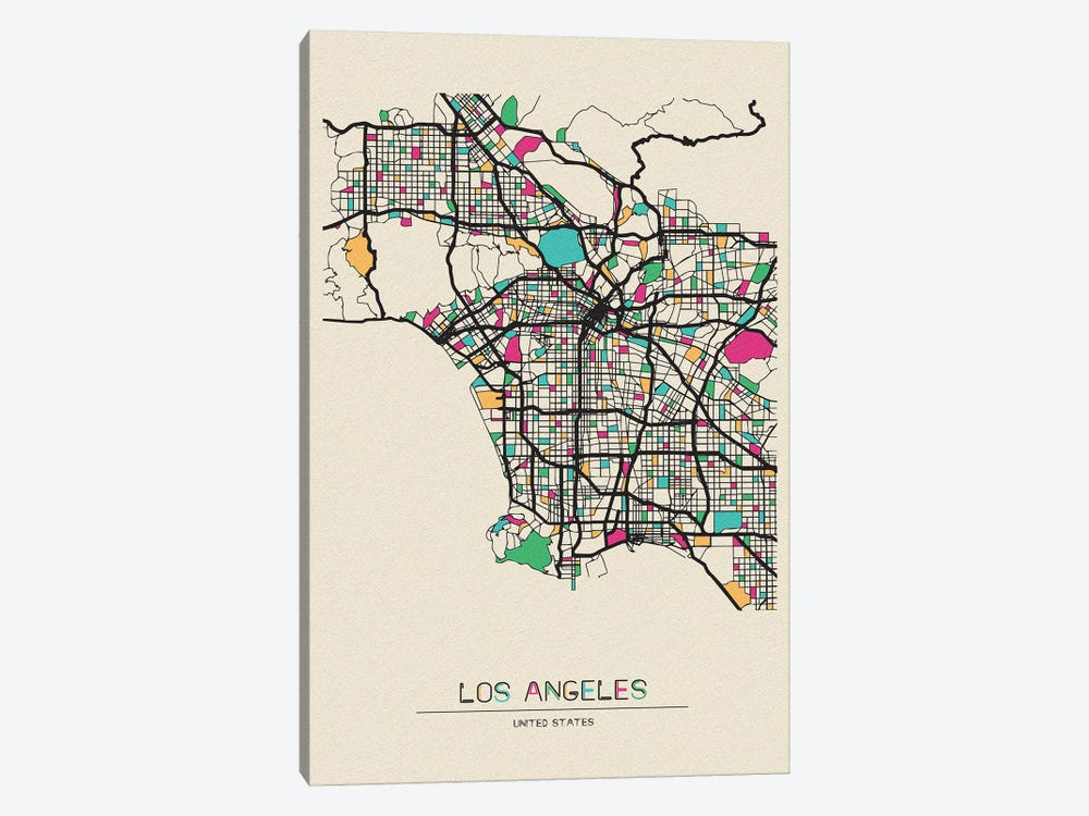Los Angeles, California Map by Ayse Deniz Akerman 1-piece Canvas Print