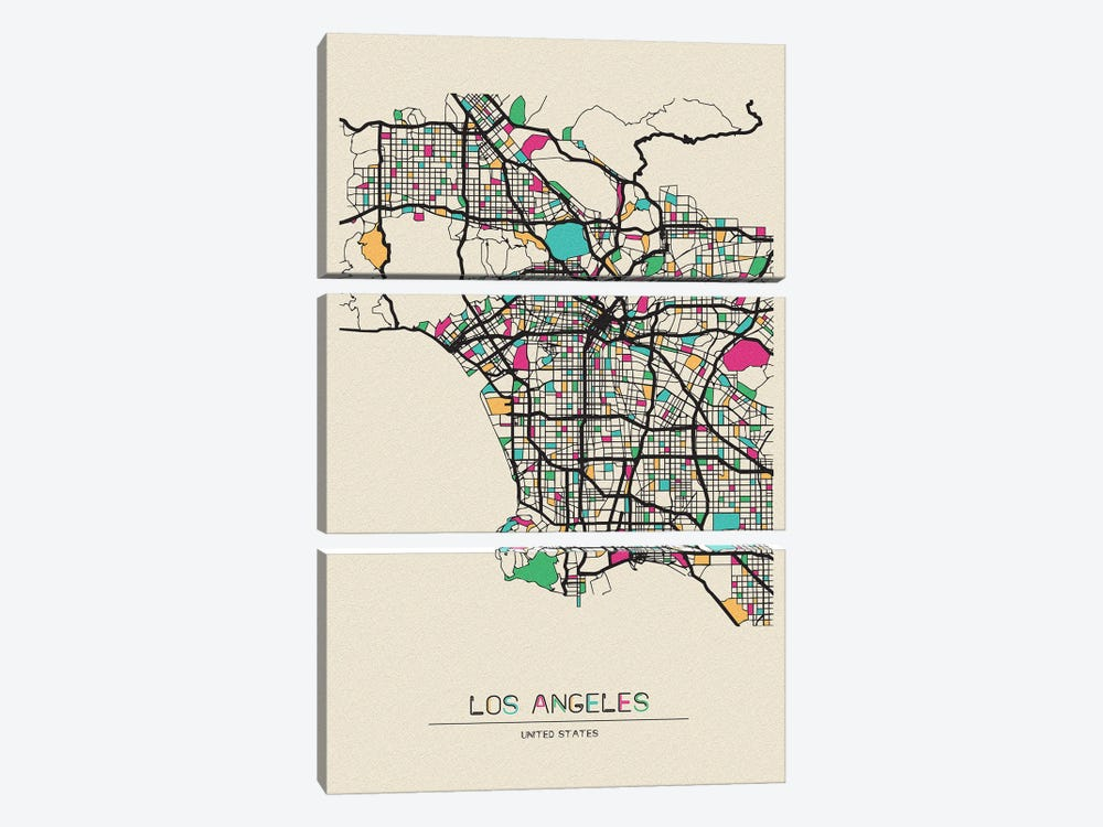 Los Angeles, California Map by Ayse Deniz Akerman 3-piece Canvas Print