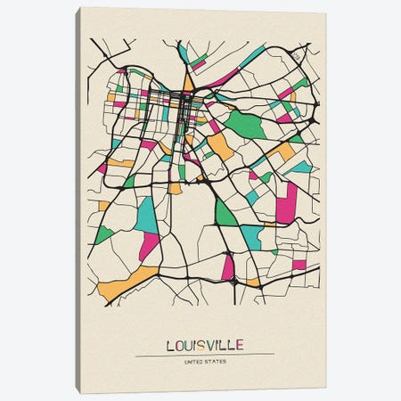 Louisville, Kentucky Map Canvas Print #ADA540} by Ayse Deniz Akerman Canvas Artwork
