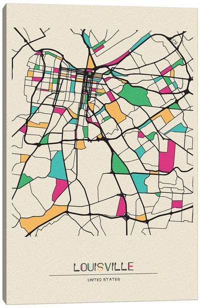 Louisville, Kentucky Map Canvas Art Print