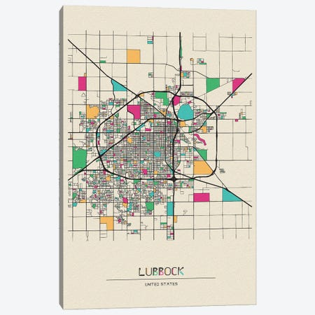Lubbock, Texas Map Canvas Print #ADA541} by Ayse Deniz Akerman Canvas Wall Art