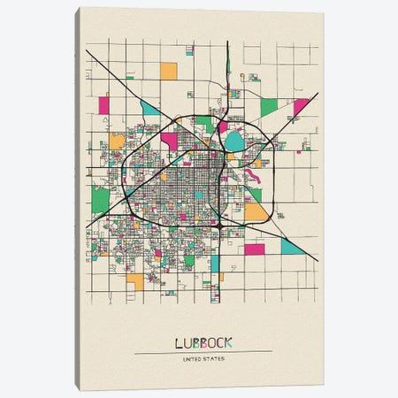 Lubbock, Texas Map Canvas Print #ADA541} by Ayse Deniz Akerman Canvas Wall Art