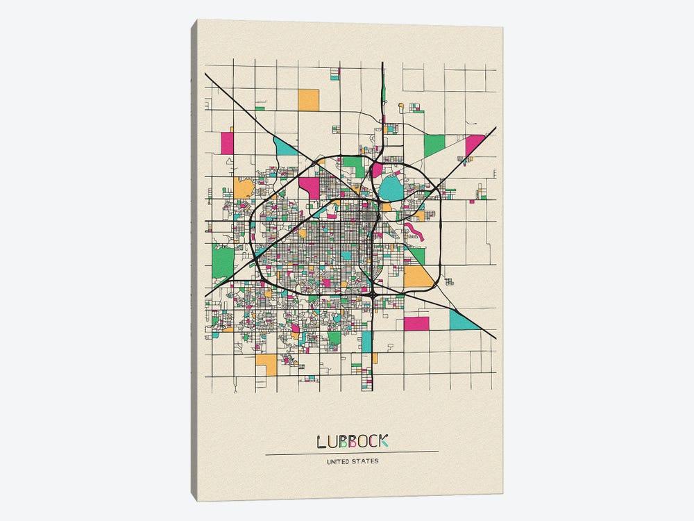 Lubbock, Texas Map by Ayse Deniz Akerman 1-piece Canvas Art