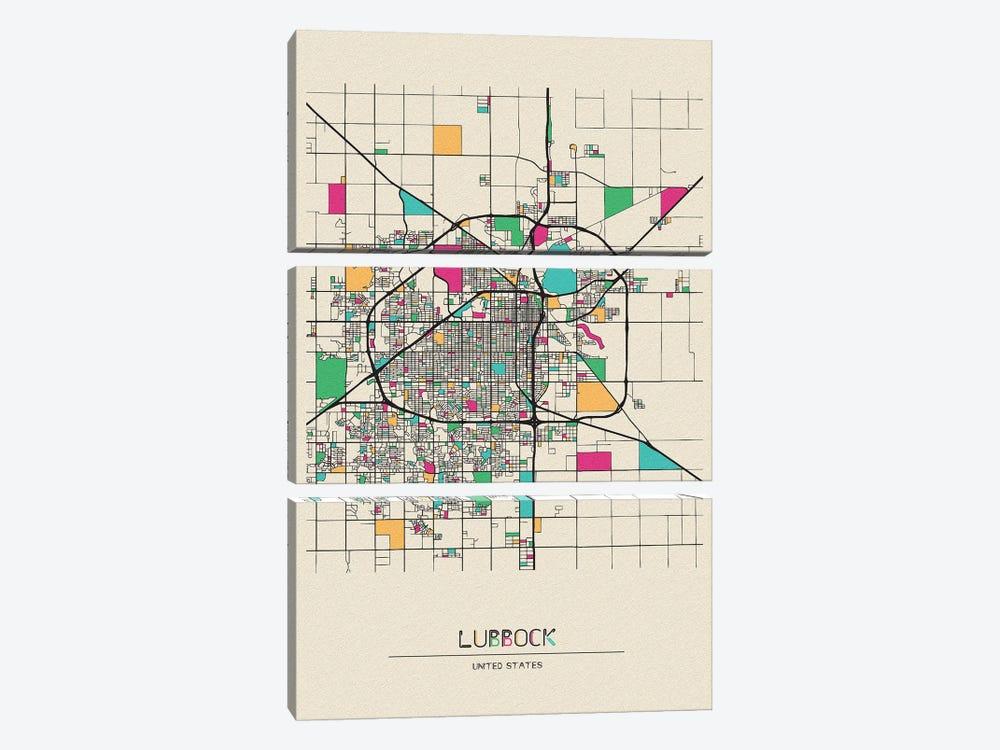 Lubbock, Texas Map by Ayse Deniz Akerman 3-piece Canvas Artwork